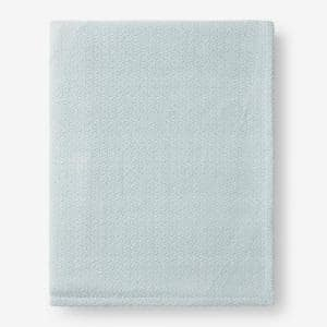 Organic Cotton Pale Blue Solid King Woven Blanket
