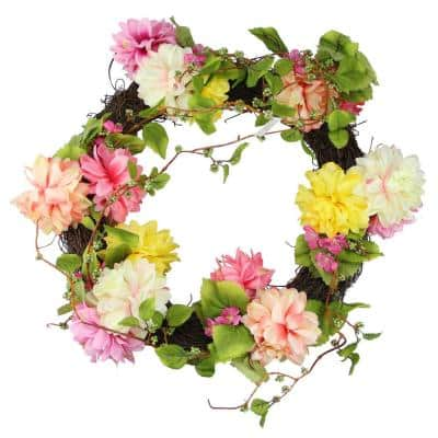 22 in. Unlit Pink and Yellow Mum and Wild Blossom Floral Wreath