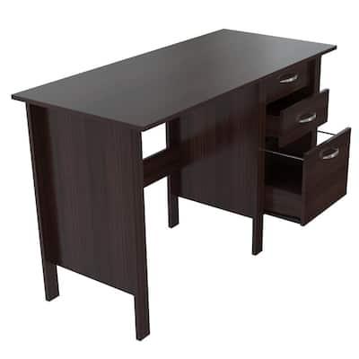 47 in. Espresso Wengue Rectangular 3 -Drawer Computer Desk with Storage