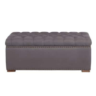 Rectangular Evere Charcoal Gray Upholstered Storage Ottoman (41.34 in. W x 16.54 in. H)