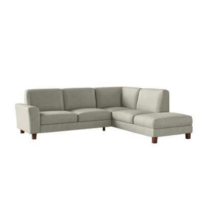 Zoey 2-Piece Light Beige Linen-Like Fabric 4-Seater L-Shaped Right Facing Chaise Sectional Sofa