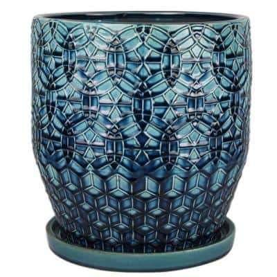 12 in. Dia Blue Rivage Ceramic Planter
