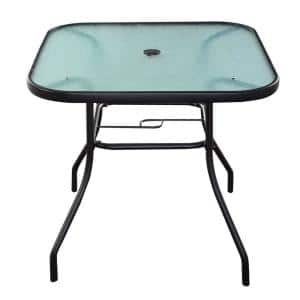 Square Metal Outdoor Dining Glass Table