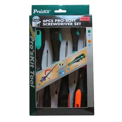 Pro-Soft Phillips and Flat Screwdriver Set (6-Piece)