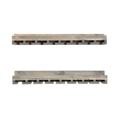 Rustic Luxe 36 in. W x 10 in. D Gray Stemware Decorative Shelves (Set of 2)