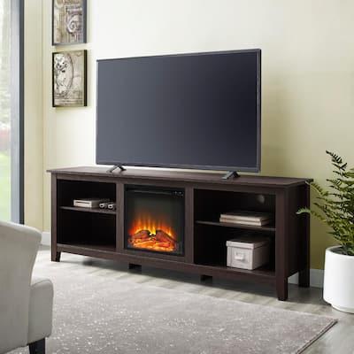 Essentials Espresso Fire Place Entertainment Center