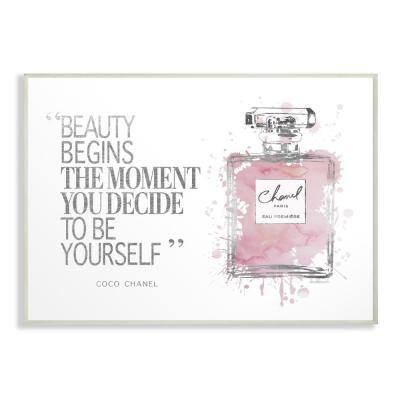 "12.5 in. x 18.5 in. ""Beauty Begins Fashion Perfume"" by Amanda Greenwood Printed Wood Wall Art"