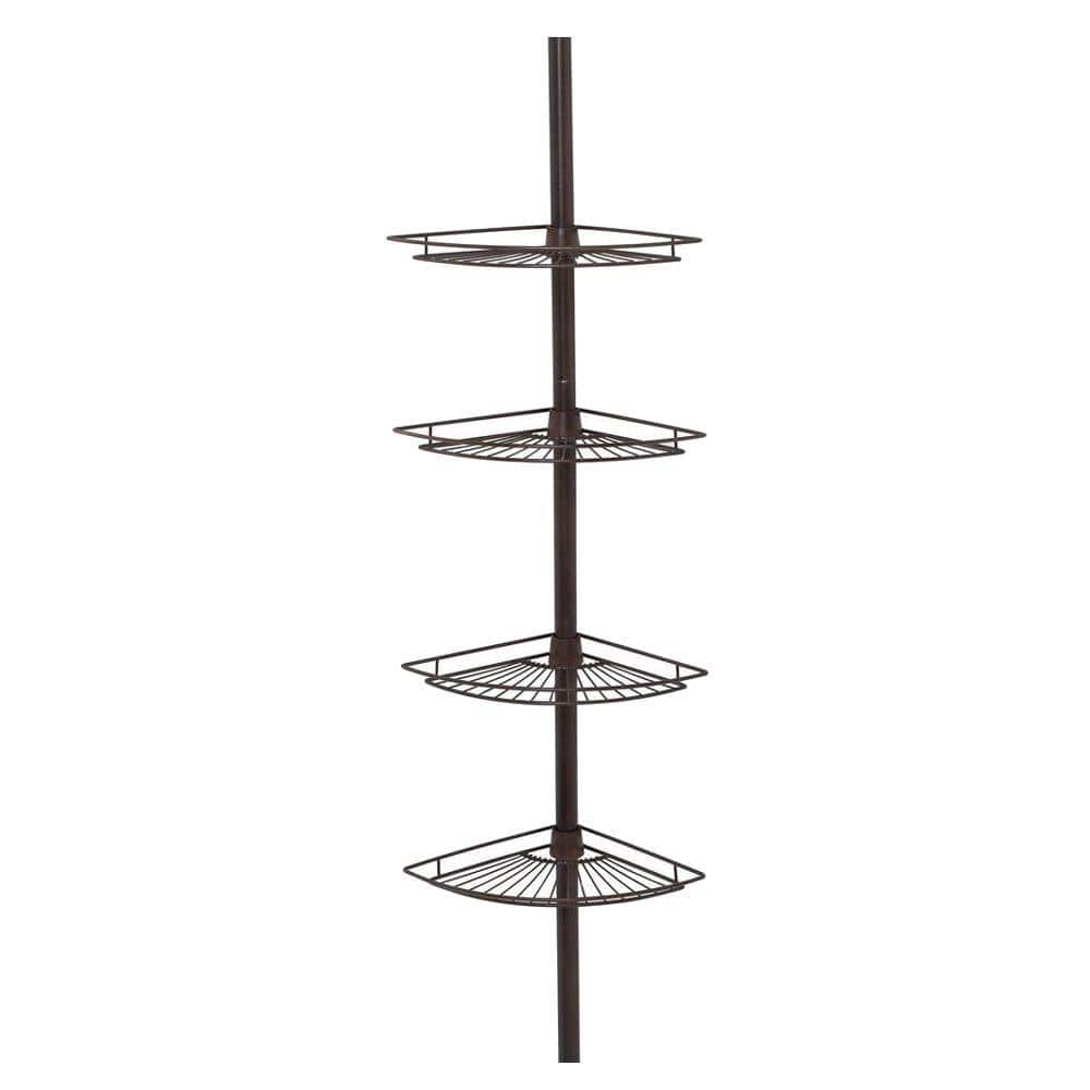 Zenna Home Tub And Shower Tension Pole Caddy With 4 Shelf In Oil Rubbed Bronze E2114hb The Home Depot