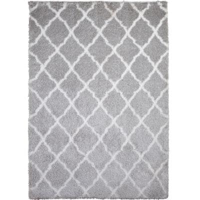 Carmela Gray/Ivory Trellis Shag 20 in. x 31 in. Indoor Area Rug