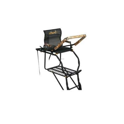 204 in. Tall Black Outdoor Silent All Weather Hunting Ladder Stand