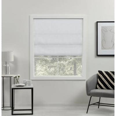 Acadia White Cordless Total Blackout Roman Shade 23 in. W x 64 in. L