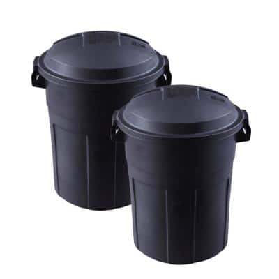 Roughneck 20 Gal. Black Round Trash Can with Lid (2-Pack)