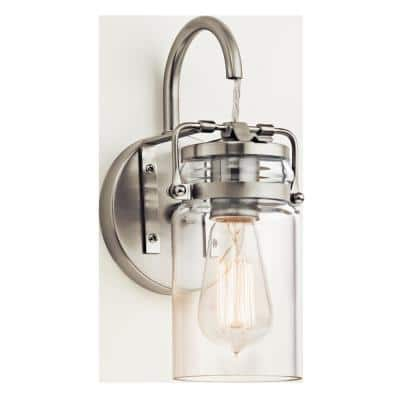 Brinley 1-Light Brushed Nickel Wall Sconce with Clear Glass Shade