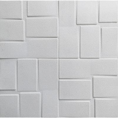 Falkirk Jura II 28 in. x 28 in. Peel and Stick Off White Rectangles PE Foam Decorative Wall Paneling (10-Pack)