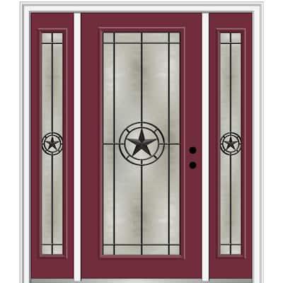 Elegant Star 64 in. x 80 in. Left-Hand Inswing Full Lite Decorative Glass Burgundy Painted Fiberglass Prehung Front Door