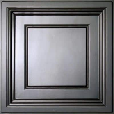 Madison Black 2 ft. x 2 ft. Lay-in Coffered Ceiling Panel (Case of 6)
