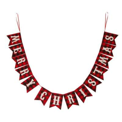 8.75 ft. L Merry Christmas Plaid Banner Garland