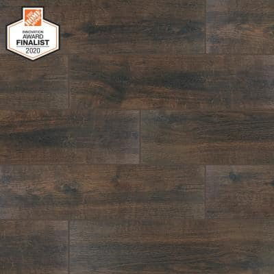 QuicTile 6 in. x 24 in. Spiced Walnut Glazed Porcelain Locking Floor Tile (10.2 sq. ft. / case)