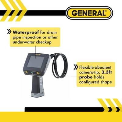 Waterproof Boroscope Video Inspection Camera System with 8 mm Far-Focus Probe, Adjustable Brightness LED Light
