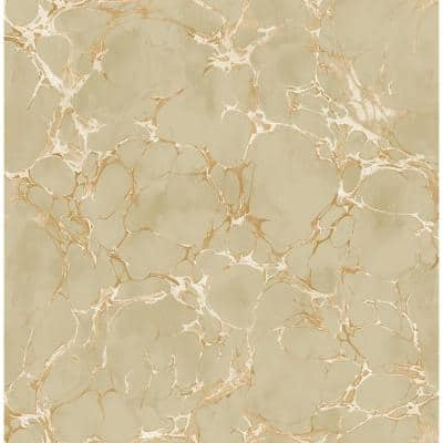 Patina Crackle Metallic Bronze and Tan Marble Paper Strippable Roll (Covers 56.05 sq. ft.)