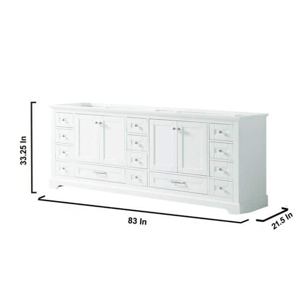 Lexora Dukes 84 Inch Bathroom Vanity Cabinet Only In White Ld342284da00000 The Home Depot