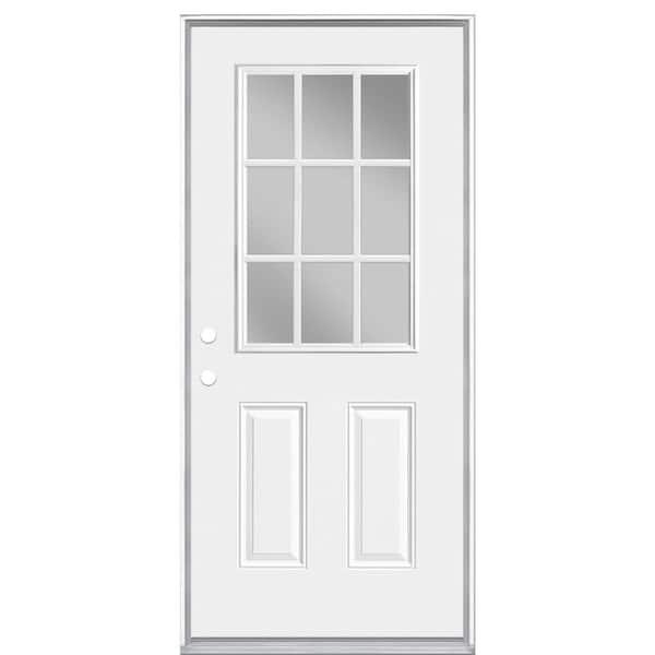 Masonite 36 In X 80 In Premium 9 Lite Right Hand Inswing Primed Steel Prehung Front Exterior Door No Brickmold 28362 The Home Depot