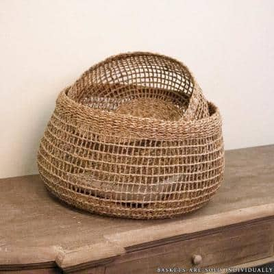 Wide Sparsely Hand Woven Wicker Seagrass Small Basket Without Handles