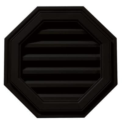 18 in. x 18 in. Octagon Black Plastic Built-in Screen Gable Louver Vent