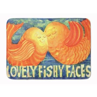 19 in. x 27 in. Fish - Kissing Fish Machine Washable Memory Foam Mat