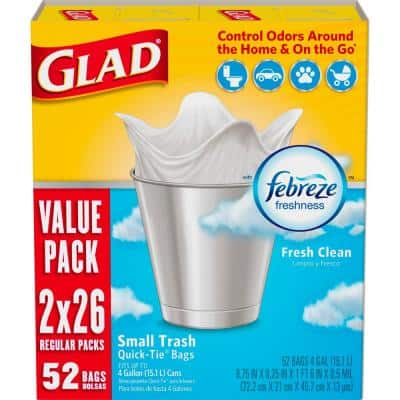 4 Gal. White Fresh Clean Odor Shield Quick-Tie Small Trash Bags (26-Count, 2-Pack)