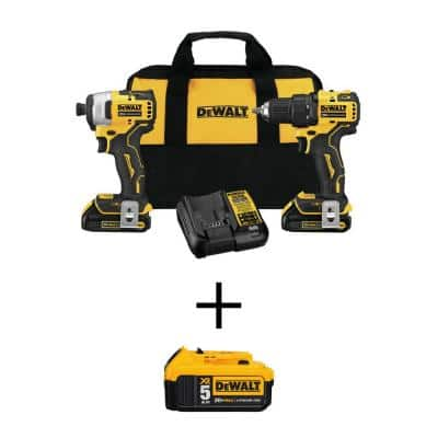 ATOMIC 20-Volt MAX Cordless Brushless Compact Drill/Impact Combo Kit (2-Tool) with 20-Volt Lithium-Ion 5.0Ah Battery