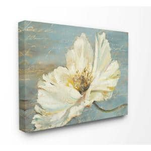 16 in. x 20 in. ''Large Flower With Word Texture Blue Painting'' by Patricia Pinto Canvas Wall Art