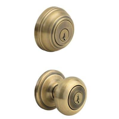 Juno Antique Brass Exterior Entry Door Knob and Single Cylinder Deadbolt Combo Pack Featuring SmartKey Security