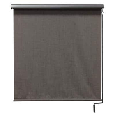 Tide Pool Cordless UV Protection PVC Outdoor Roller Shade Cordless Pole Operated With Valance 120 in. W x 96 in. L