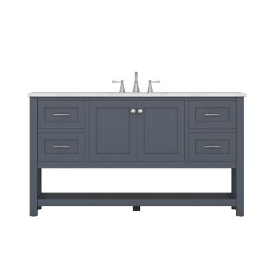 Wilmington 60 in. W x 34.2 in. H x 22 in. D Vanity in Gray with Marble Vanity Top in White with White Basin