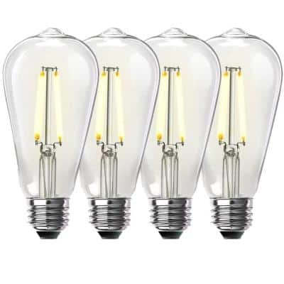 60-Watt Equivalent ST19 Dimmable Straight Filament Clear Glass Vintage Edison LED Light Bulb, Bright White (4-Pack)