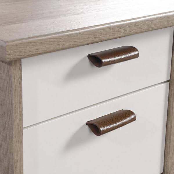 Sauder 57 In Rectangular Sky Oak 6 Drawer Executive Desk With File Storage 423235 The Home Depot