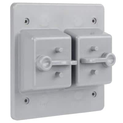 White 2-Gang Non-Metallic Weatherproof Toggle Switch Cover