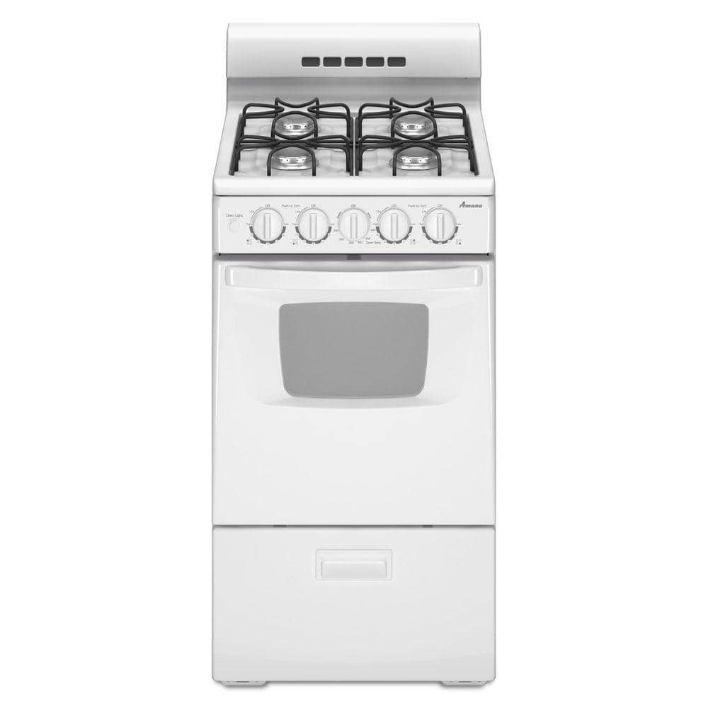 Amana 20 In 2 6 Cu Ft Gas Range White Agg222vdw The Home Depot