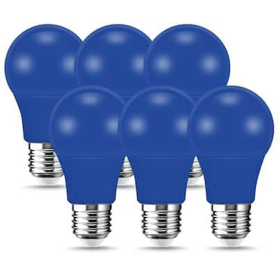 60-Watt Equivalent 9-Watt A19 E26 Base Non-Dimmable Blue LED Colored Light Bulb (6-Pack)