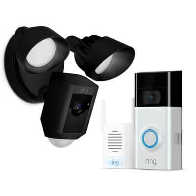 Wireless Video Doorbell 2 with Chime Pro and Floodlight Cam Black