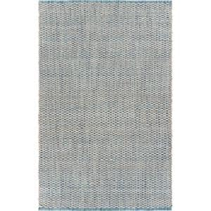 Bleached Naturals Bleach / Ivory Blue 9 ft. x 12 ft. Braided Area Rug