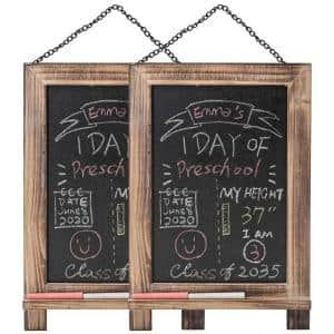 9.5 in. x 14 in. 2-Piece Hanging Reusable ChalkBoards School Signs Blackboards with Frame
