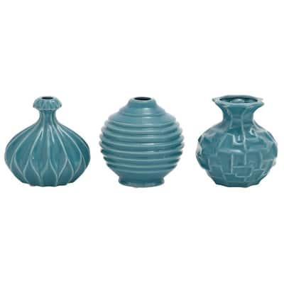 Blue Stoneware Modern Decorative Vase (Set of 3)