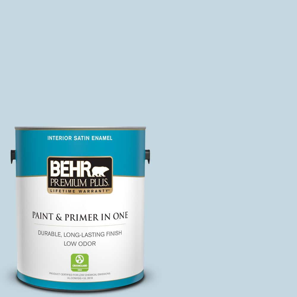 Behr Premium Plus 1 Gal S510 1 Prairie Sky Satin Enamel Low Odor Interior Paint And Primer In One 705001 The Home Depot