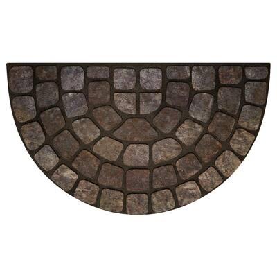 Grey Stone Slice 18 in. x 30 in. Raised Rubber Door Mat