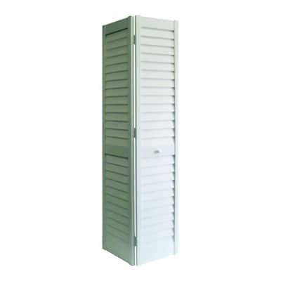 24 in. x 80 in. 3 in. Louver/Louver White PVC Composite Interior Closet Bi-Fold Door