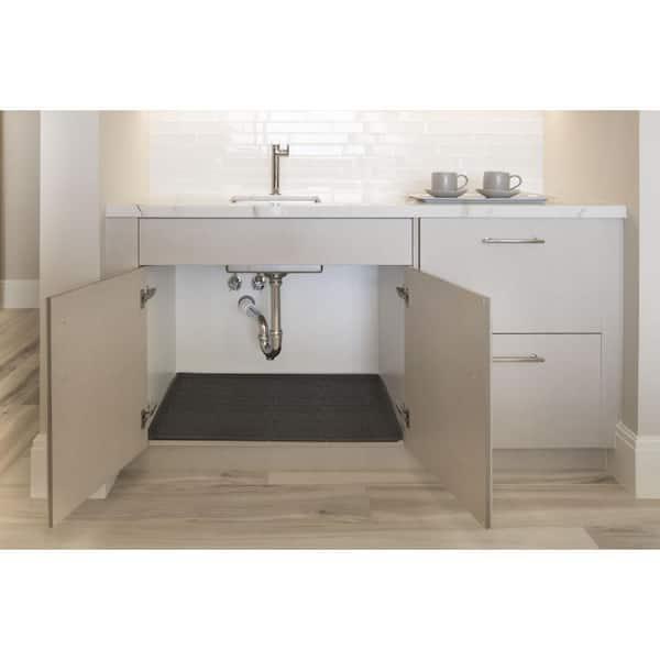 Xtreme Mats 25 In X 19 In Grey Bathroom Vanity Depth Under Sink Cabinet Mat Drip Tray Shelf Liner Cmv 27 Grey The Home Depot