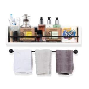 Rustic State Wooden Wall Shelf with Metal Rail : White
