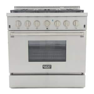 Professional Style 36 in. 5.2 cu. ft. Propane Dual Fuel Range with Sealed Burners and Convection Oven in Stainless Steel